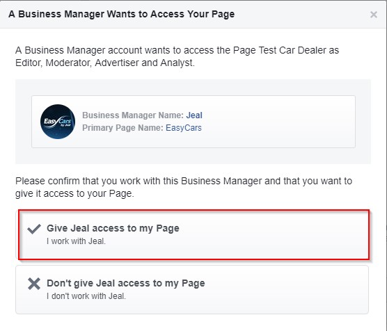 EasyCars Facebook Motor Dealer Setup - Give Access to Page
